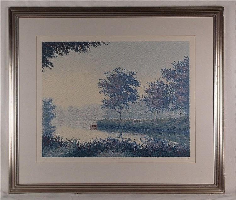 Durant,Michael - Watermeadow I,Lithographie,signiert, betitelt, num. 233/325,ca.81,9x71cm, unter Glas gerahmt