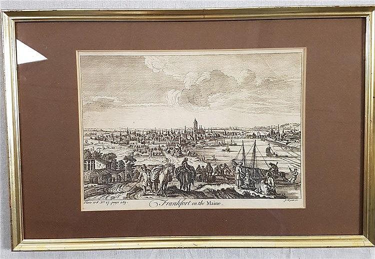 Frankfurt/M.Gesamtansicht- ''Frankfort on the Maine'',bez.''J.Mynde sc.'',um 1780, Kupferstich, ca.18x25cm,unter Glas gerahmt