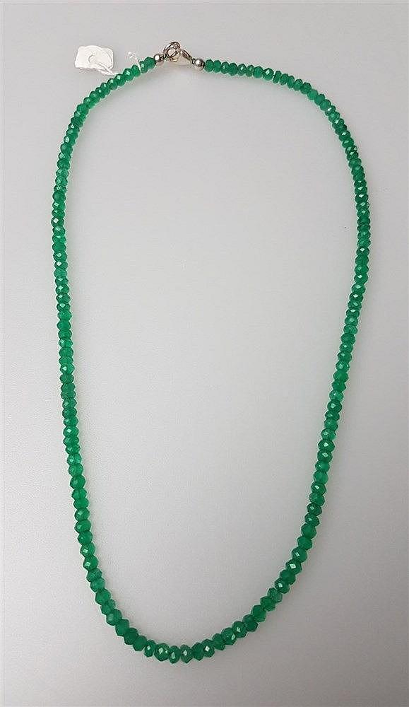 Kette - Jade, facettiert, Silberverschluß, L.ca.46cm