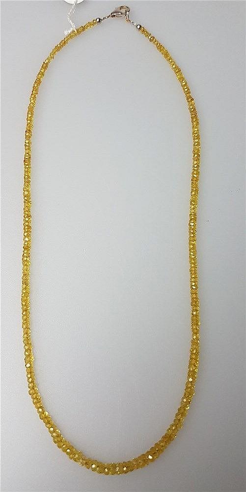 Halskette - gelbe Saphir, Silberverschluß, L.ca.45cm