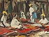 Vaned,N.P.(1916 Dresden - 1988 Ottendorf) - Orientalischer Teppichbazar, Öl auf Leinwand,links oben signiert,stark pastoser Farbauftrag, ca.39,5 x 79 cm,Rahmung