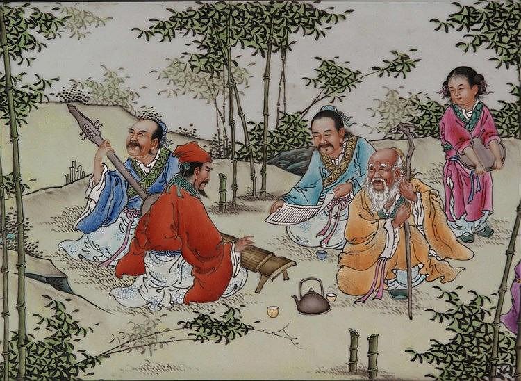 Gerahmtes Porzellanbild - China,Darstellung der Acht Unsterblichen in Landschaft,in chin.Kalligraphie beschriftet und gesiegelt,Rahmen partiell leicht beschnitzt,ca.118x38cm