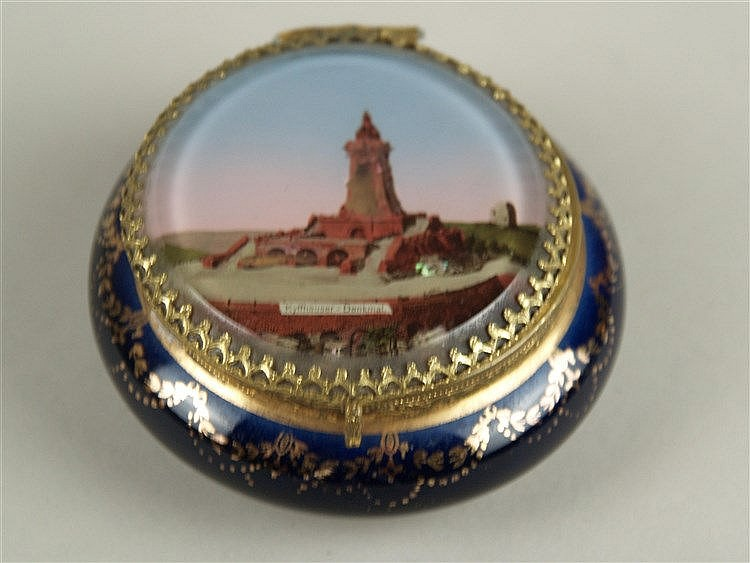 Andenkenschmuckdose - Porzellan, Jugendstil, Kyffhäuserdenkmal, Kobaltblau, gold staffiert, Gebrauchsspuren, Farbe tlw.abgekratzt