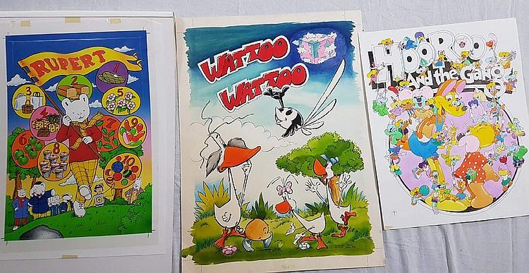 Drei Vorlagen für Poster - Murray Van - ''HooRoo and the Gang'', Sprühtechnik, ca.52x42cm; Wattoo Wattoo Motiv (franz. Zeichentrickfilm, seit 1978), Mischtechnik, ca.67x50cm; Rupert Bear Motiv (engl. Comicfigur, seit 1920), Sprühtechnik,