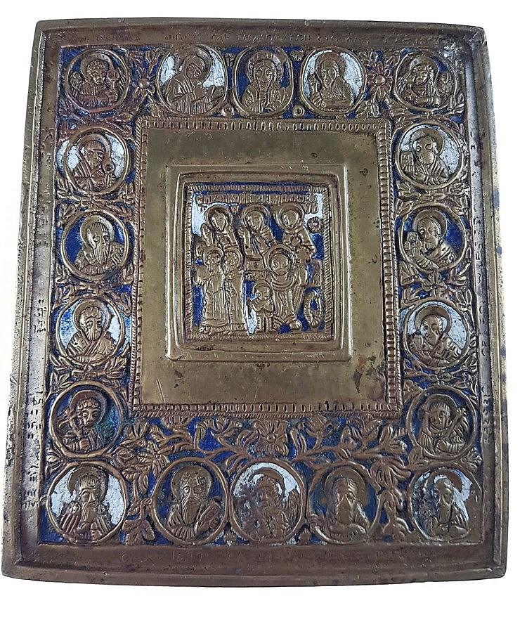Reiseikone - Russland, 19.Jh., Bronze,zentrales Bildfeld mit Heiligenszene umgegeben von 19 weiteren Heiligen und Rankenwerk,blau-weiß emailliert,ca. 14,4x12,3cm