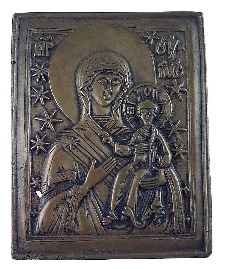 Reiseikone - Russland, um 1800, Bronze, Bildfeld mit Relief. Darst.der Gottesmutter mit Kind, ca.11,8x9,3 cm