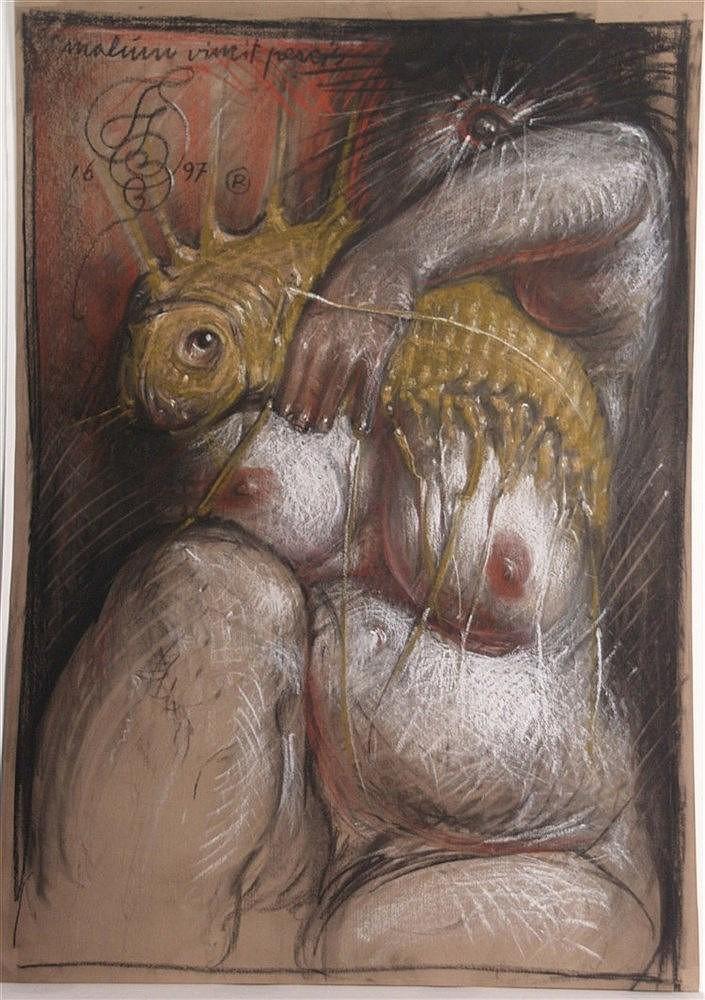 Starowieyski,Franciszek (1930 Bratkówka-Warschau 2009)- ''Malum Vincit Pescis'',1997,Pastell auf Malkarton,monogrammiert und datiert oben links,ca.99,5x70cm,ohne Rahmung -Franciszek Andrzej Bobola Biberstein-Starowieyski (bisweilen verwendete er das