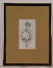 Ruppert,Carlo  (Frankfurt/M. 1907 - 1997 Lützelbach) - ''Erotic extasiée'',Bleistiftzeichnung,signiert,da tiert 1982 und bezeichnet,im PP unter Glas gerahmt,PP-Ausschnitt ca.21x11,5cm