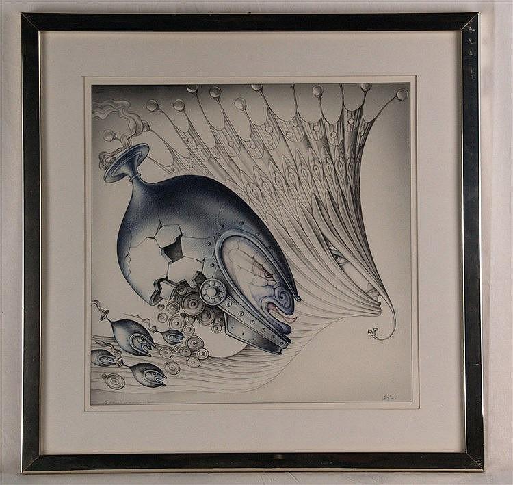 Ruppert,Carlo (Frankfurt/M. 1907 - 1997 Lützelbach) - ''Der abgewiesene Heiratsantrag'',Blei-/Buntstift-Zeichnung ,rechts unten signiert und datiert ''80'',ca.37x37cm,im PP unter Glas gerahmt