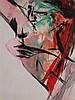 Slavicek,Jiri Vincenc (*1955 Prag/Studium an der Kunstakademie bei Prof. Raimer Jochims)- ''La Bella'',Acryl auf Papier, 1988,rechts unten signiert und datiert,ca.87x59cm,unter Glas gerahmt