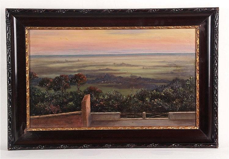 Schmidt, Hugo - Stimmungsvolle Parklandschaft in der Morgendämmerung, Öl auf Leinwand,links unten signiert,verso auf Keilrahmen in Blei bezeichnet ''Campagne Studie'',ca.30,5 x 50 cm,schöne Rahmung, partiell lt. bestossen