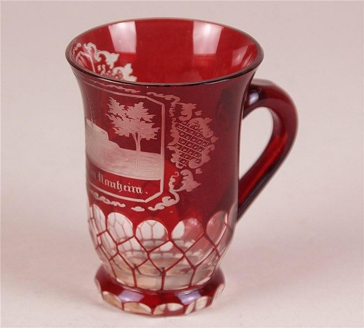 Badeglas - 19.Jh., rot überfangen, geschliffen,bez.''Sprudel in Nauheim'', H.ca.11cm