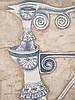 Svanberg, Max Walter(Malmö 1912 - 1994 Limhamn,schwedischer Surrealist,Illustrator und Designer) - Surreale Frauenfigur,Zeichnung mit Kugelschreiber und Blattgoldauflage,1962,signiert und datiert,ca.28,5x20,5cm,unter Glas im Samtrahmen