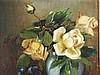 Anonym - Stilleben mit Blumen und Obst, Öl auf Pappe, ca.43,5x29,5cm