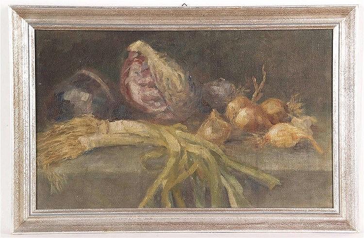Anonym - Stilleben mit Gemüsen, Jugendstil, Öl/Leinwand auf Karton, ca.30x48cm