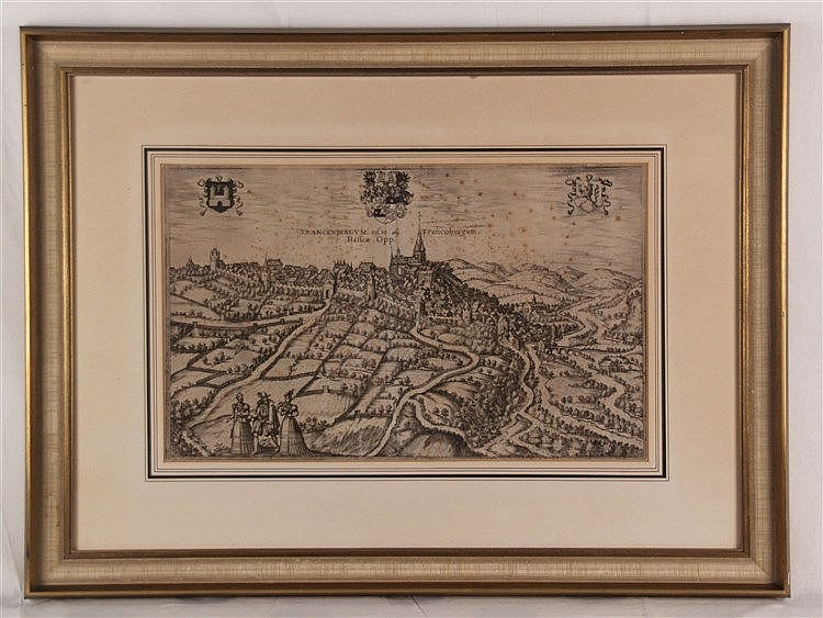 Braun und Hogenberg - Stadtansicht von Frankenberg - Kupferstich, ca.30x50cm, gestochen 1583, Stockfleckig, unter Glas gerahmt