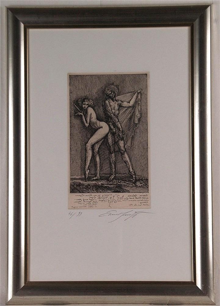 Fuchs, Ernst(1930-Wien-2015) - ''Satyr und Satyra'', Radierung auf aufgewalztem China, 1977,exklusiv für die Galerie Satyra,Kronberg,unterhalb in Blei handsigniert und nummeriert ''46/99'',Plattenkante ca.26,5x16,2cm,unter Glas gerahmt