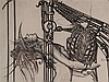 Fratscher,Wolfgang (1944-2009)- Hommage à Leonardo da Vinci ''Prüfstand'', Radierung 1991,signiert,datiert,bezeichnet und num.''XVII/LXXX'',im Weißgold-Atelierrahmen,ca.97x67cm