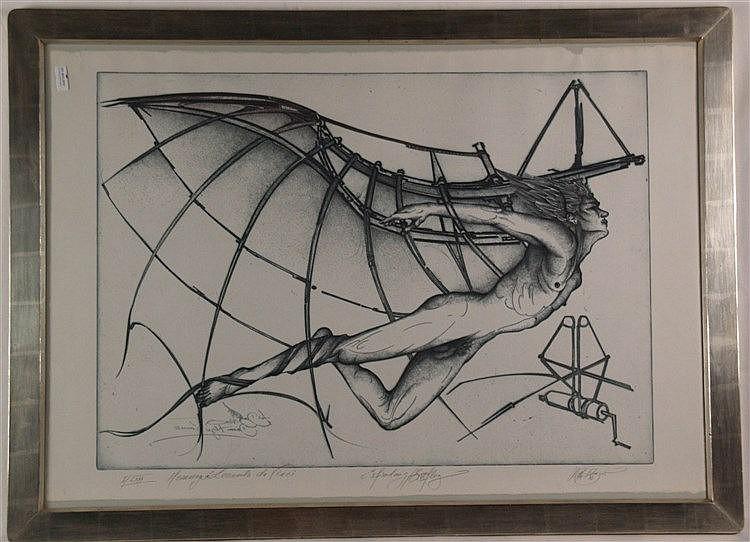 Fratscher,Wolfgang (1944-2009)- Hommage à Leonardo da Vinci ''Erfindung/Erstflug'', Radierung 1987,signiert,datiert,bezeichnet und num.''I/LXXX'',ca.97x67cm,unter Glas im Weißgold-Atelierrahmen