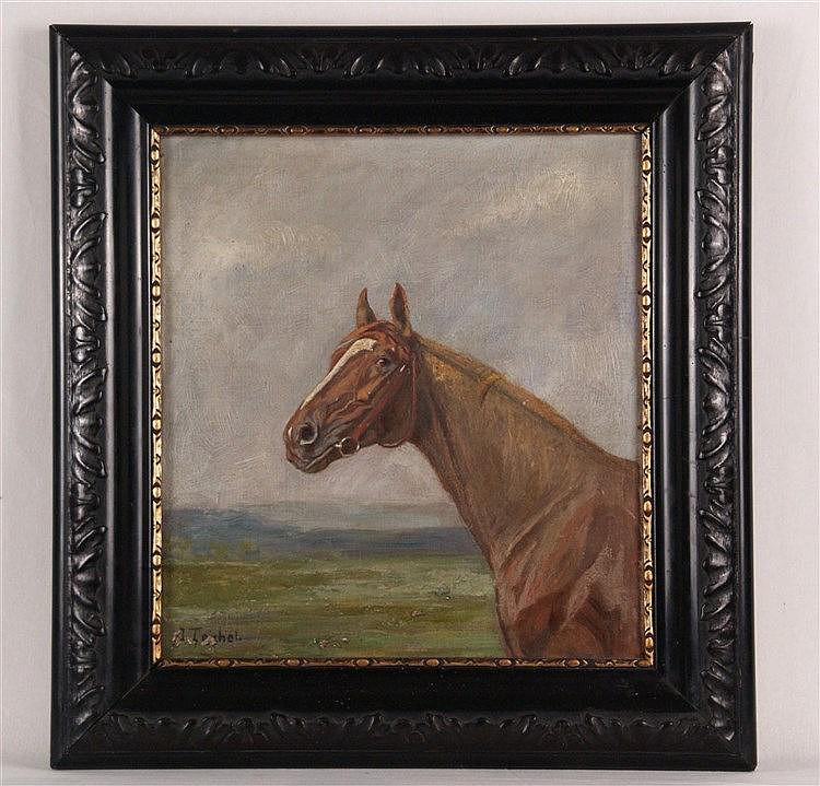 Teichel - ''Pferdekopf'', um 1900, Öl auf Leinwand, sign. als Teichel, ca.34,5x31,5cm, kl.Beschädigungen bei der Signatur.