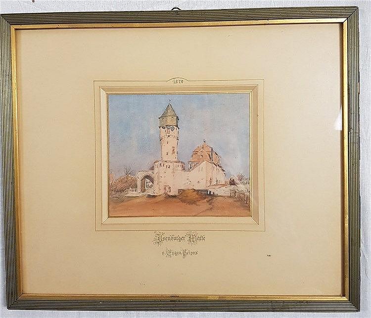 Peipers,Friedrich Eugen (1805 - 1885) - Blick auf die Sachsenhäuser Warte,Aquarell auf Papier,mit Bleistift datiert 1870, beschriftet ''Ysenburger Warte v.Eugen Peipers'',ca.14,5x16,5cm, im Passepartout unter Glas gerahmt