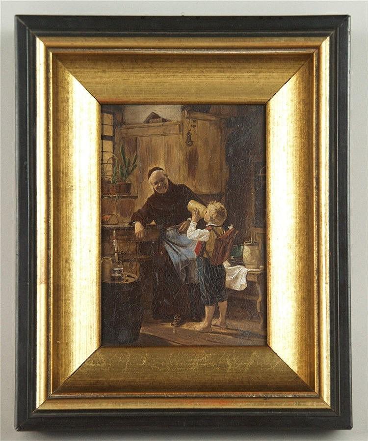 Grützner,Eduard von (1846-1925,zugeschr.) - Mönchszene mit Knaben, Öl auf Holz, ca.12,5x9cm, unsigniert,sehr fein gemalte Interieuransicht,Zuschreibung aufgrund der Qualität der Malerei,Rahmung,ca.17,3x21,5cm
