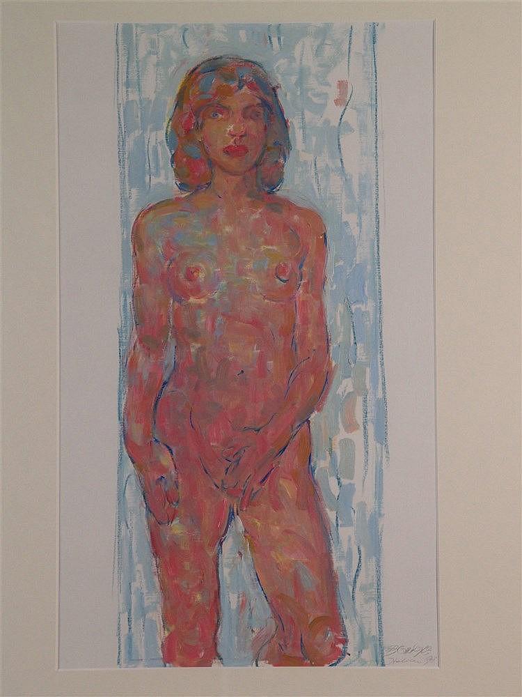 Griesel,Bruno (*1960 Jena) - ''Ohne Titel/Weiblicher Akt'',Kreide/Öl auf Malkarton, 1998, rechts unten signiert ,verortet und datiert ''Italien 98'',im PP unter Glas gerahmt,PP-Ausschnitt:ca.63x37cm -Bruno Griesel,deutscher Maler, Zeichner und