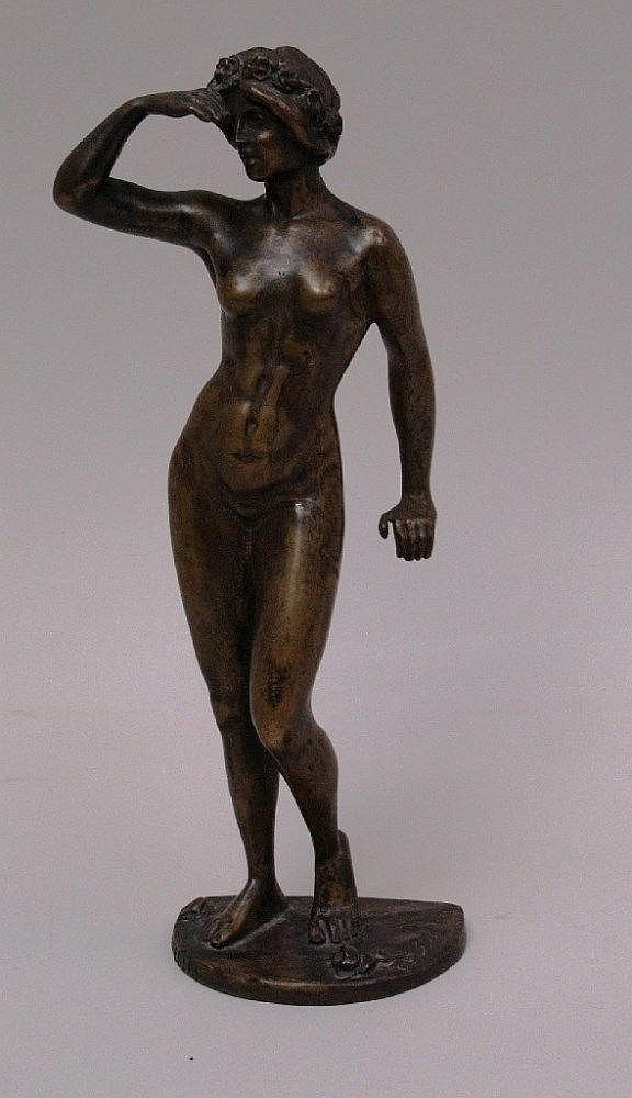 Schwatenberg, Spiro (1898 - 1922) - ''Female Nude'' - cast bronze with green patina. Sign on