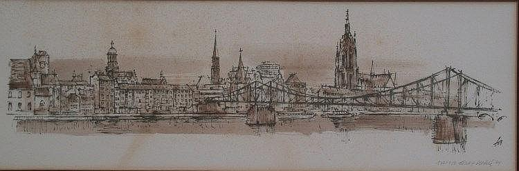 Ahrlé, Ferry (* 1924) - View of Frankfurt aM 1974, lithography, re below numbered