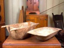 PAIR OF PRIMITIVE KNEADING BOWLS