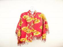 ANTIQUE PIANO SHAWL WITH POPPY PATTERN AND SILK FRINGE