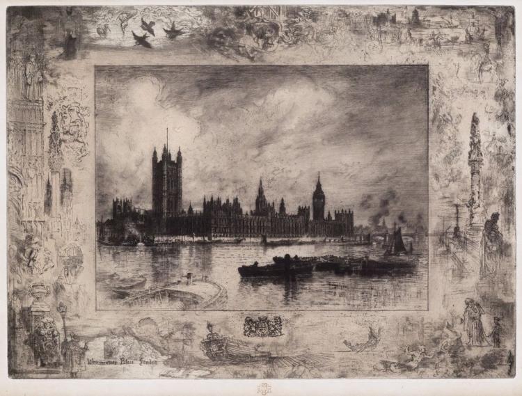 Felix Buhot, Westminster Palace, 1884, Etching