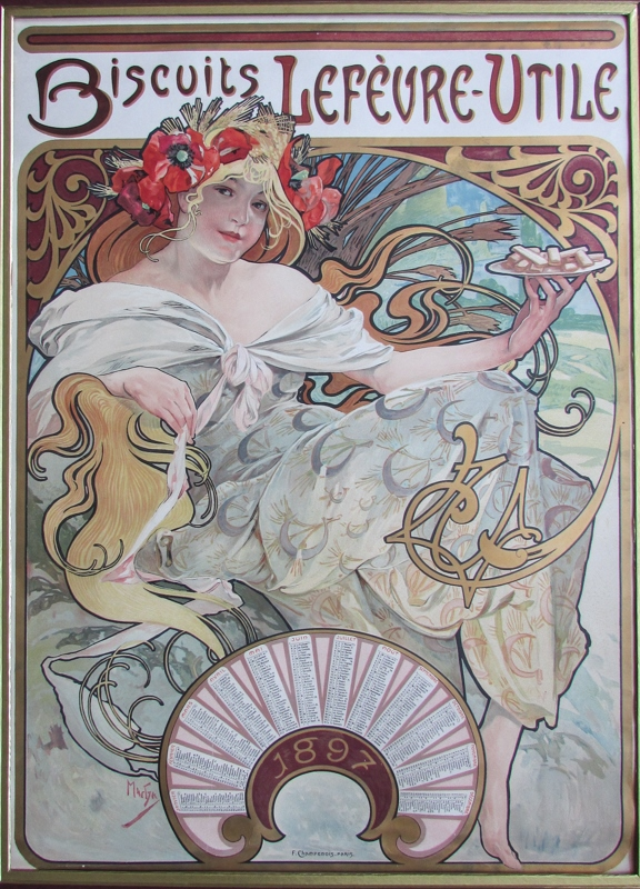 Alphonse Mucha, Biscuits Lefèvre-Utile, 1897, Lithograph