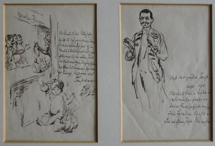 Max Liebermann, Pair of Ink Drawings with Artist's Notes, circa 1920