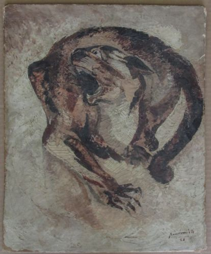 Pierre Van Parys Bourdelle, Art Deco Panther, 1928, Oil on canvas