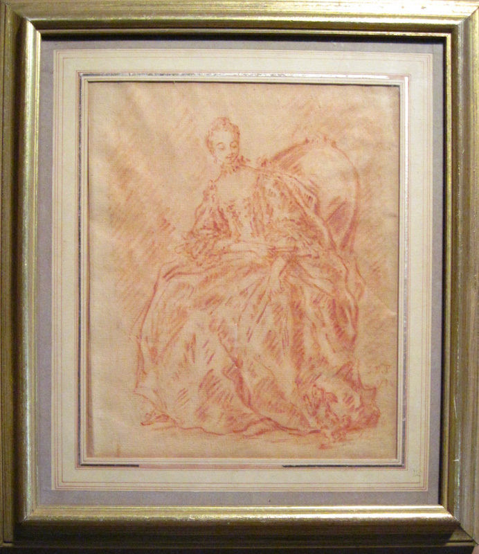 Jean-Baptiste Pater, French Rococo Sanguine Drawing, Watermarked Laid Paper