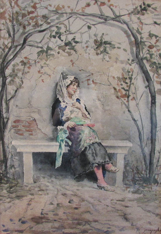 Eugenio Zampighi (Italian 1859-1944), Portrait of Young Woman, Watercolor