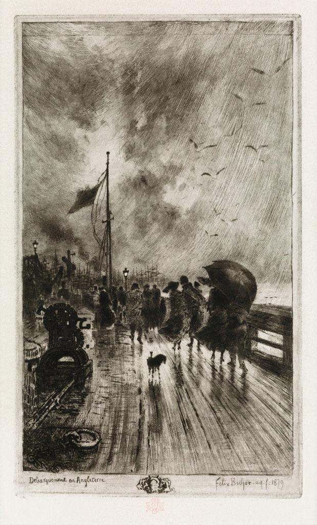 Felix Buhot, Un Debarquement en Angleterre, Etching, 1879