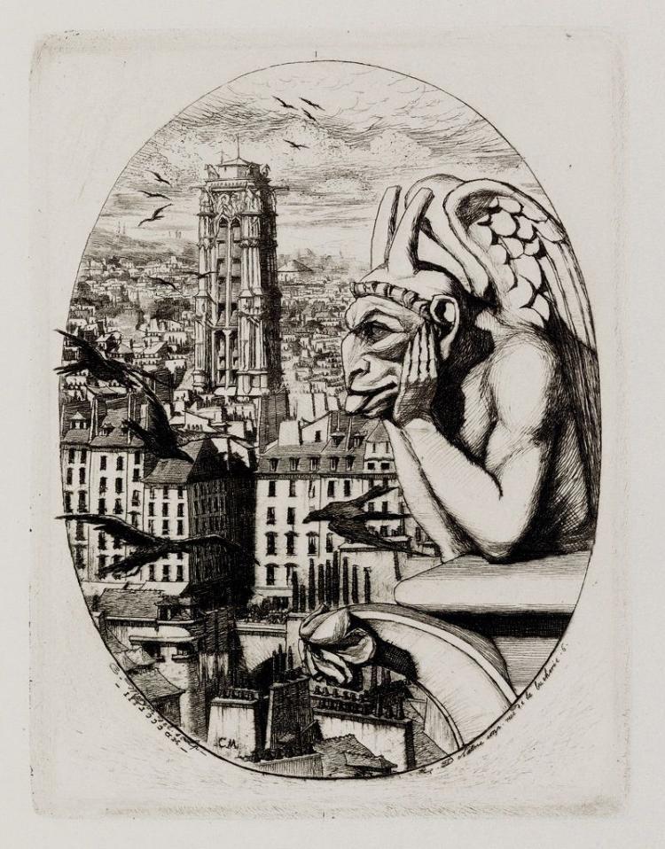 Charles Meryon,  Le Stryge (The Vampire), 1853, Etching