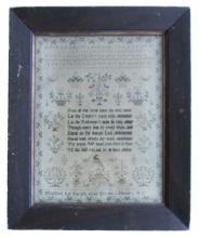 Antique Needlework Sampler, Alphabet Verse Schoolgirl, Signed Dated 1811