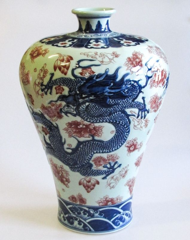A Large Chinese Red and Blue Porcelain Meiping Dragon Vase, Qianlong Mark