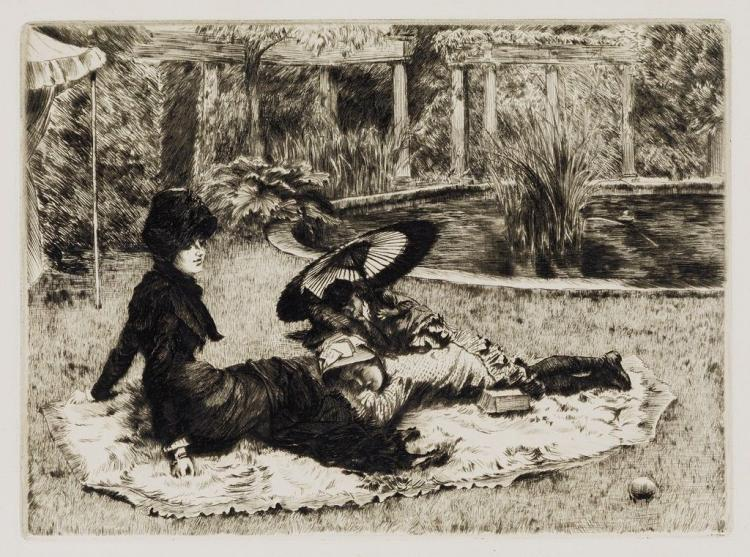 James Jacques Tissot (French, 1836-1902), Sur l'Herbe, 1880, Etching