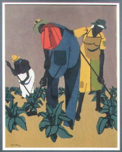 Robert Gwathmey (American, 1903-1988), Tobacco Farmers, 1947, Screenprint