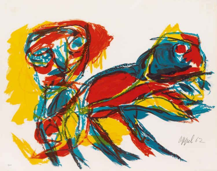 Karel Appel (Dutch, 1921-2006), Personage avec animaux, 1962, Lithograph