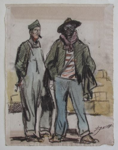 Lucien-Hector Jonas (French, 1880-1947), WWI Era Illustration, Watercolor and Charcoal
