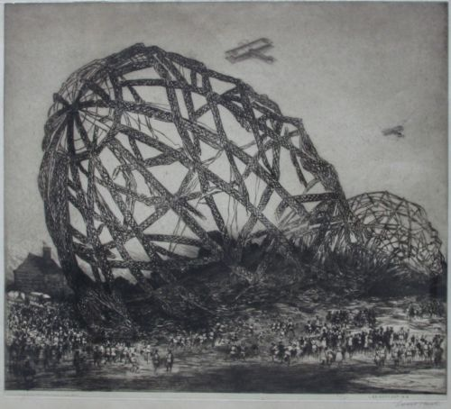 Louis Whirter (British, 1873-–1932), The Downed Zeppelin L33, 1916, Etching