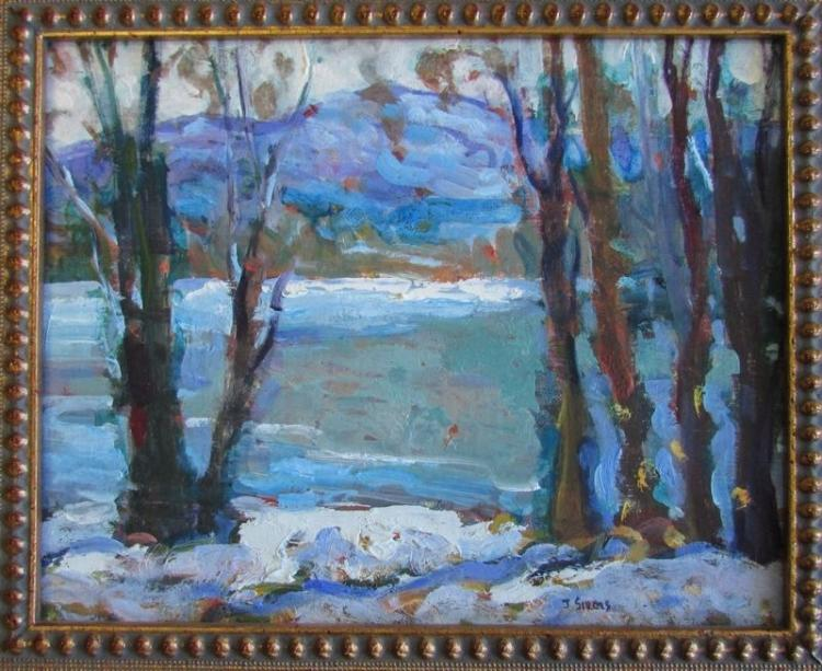John Sirois, Late Winter Afternoon, Mount Monadnock, New Hampshire, Oil on board