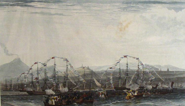 William James Bennett, Review off Edinburgh, After Schetky, Rare proof aquatint