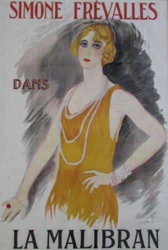 Marcel Vertès, Simone Frevalles dans la Malibran, 1923, Vintage Poster