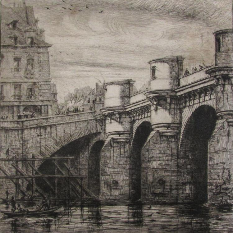 Charles Meryon (French, 1821-1868), Le Pont Neuf, 1853, Etching on Laid Paper